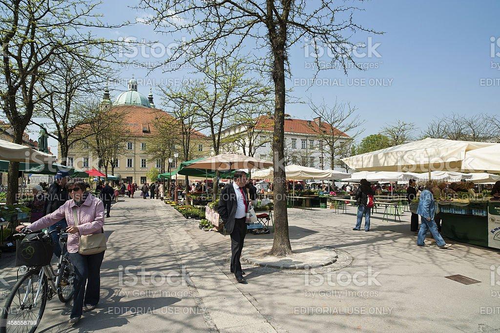 Ljubljana market place pogacarjev trg stock photo