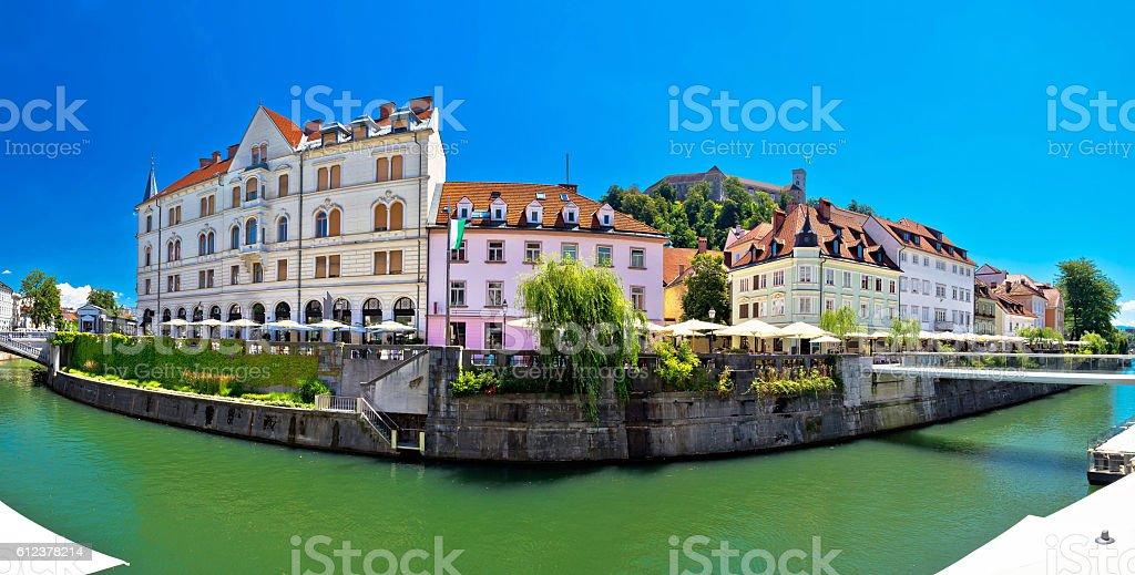 Ljubljana on green Ljubljanica river panorama stock photo