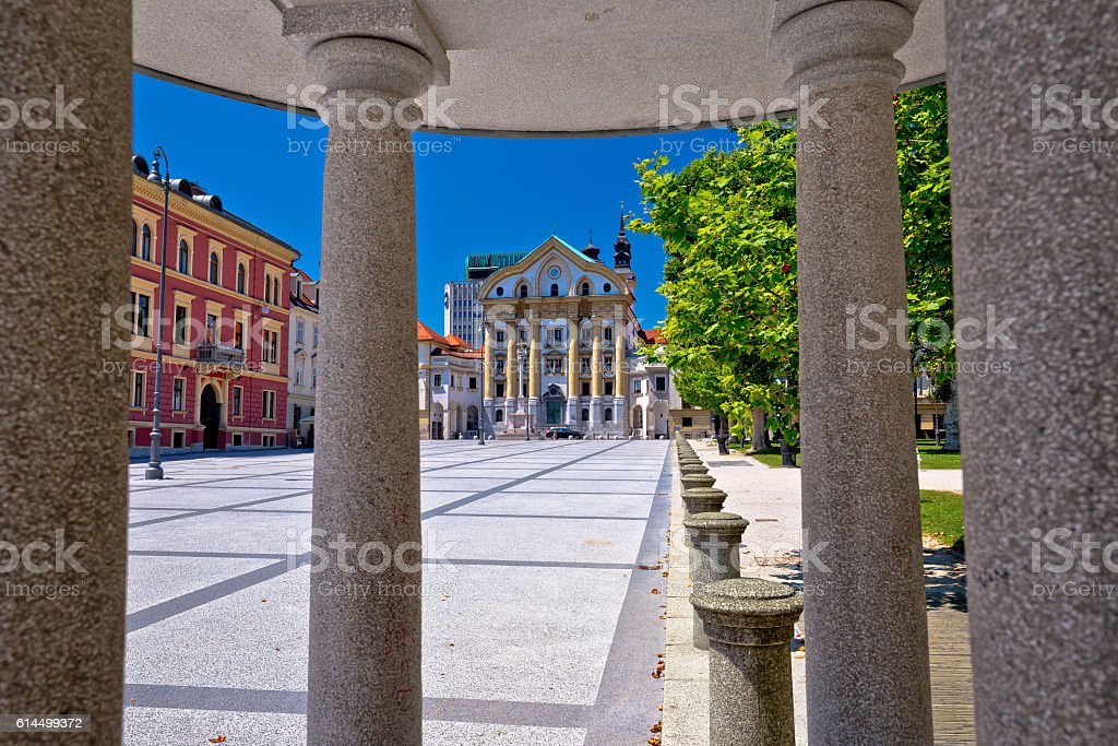 Ljubljana pavilion and church view stock photo