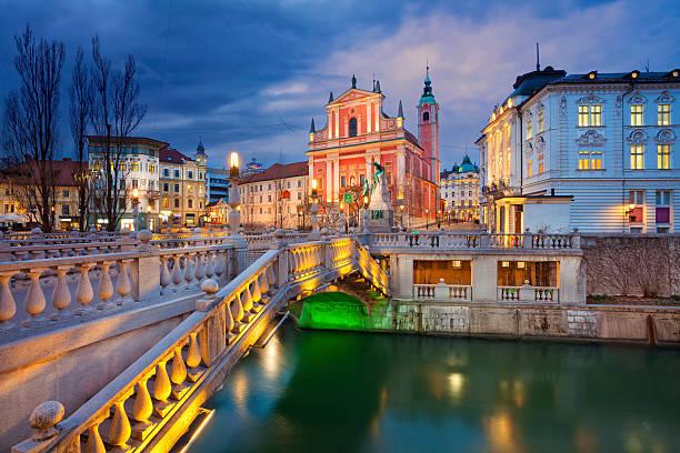 Ljubljana. Image of Ljubljana, Slovenia during twilight blue hour. ljubljana stock pictures, royalty-free photos & images