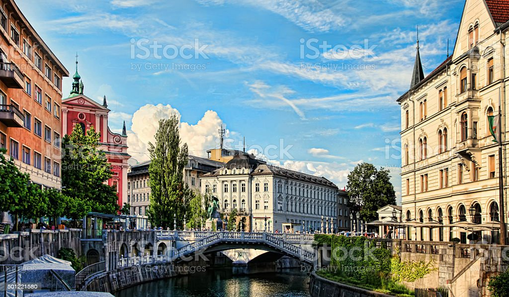 Ljubljana - Slovenia. Church and river Ljubljanica. stock photo