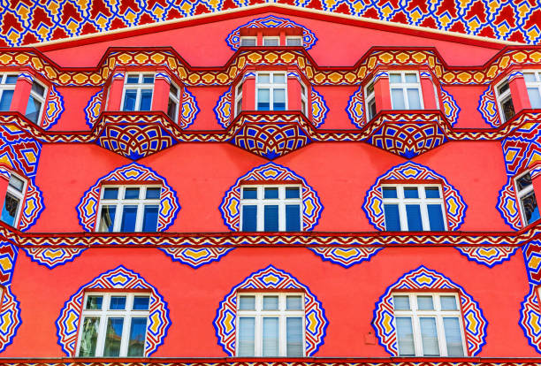 Ljubljana, Slovenia. Ljubljana, Slovenia - August 17, 2019: Detail of Vurnik house or the Cooperative Business Bank building. ljubljana castle stock pictures, royalty-free photos & images