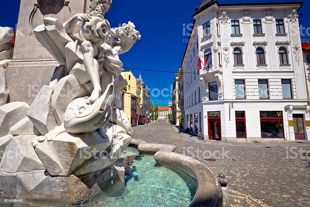 Ljubljana square fountain and street view stock photo