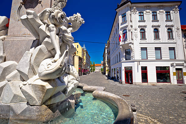 Ljubljana square fountain and street view Ljubljana square fountain and street view, capital of Slovenia ljubljanica river stock pictures, royalty-free photos & images