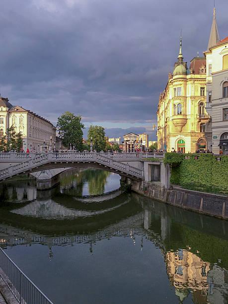 Ljubljana Triple Bridge, Slovenia ストックフォト