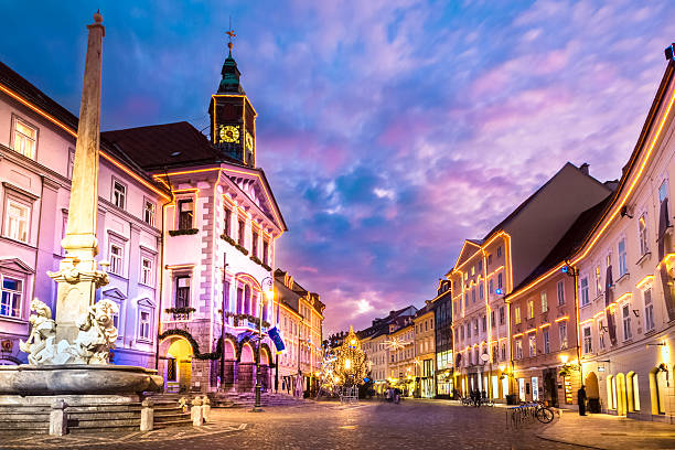 Ljubljana's city center, Slovenia, Europe. Romantic Ljubljana's city center, the capital of Slovenia, Europe. City hall and Roba's fountain shot at dusk. ljubljanica river stock pictures, royalty-free photos & images