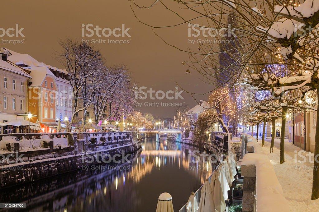 Ljubljanica river in winter. stock photo