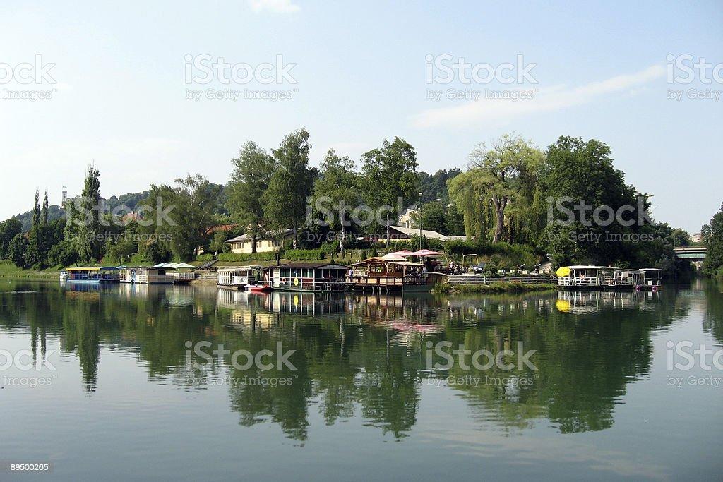 Ljubljanica river royaltyfri bildbanksbilder