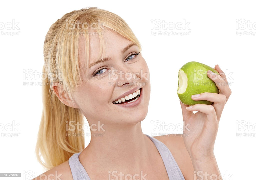 I'll always take the healthy snack option stock photo