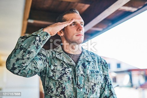 Shot of a young soldier standing and saluting outdoors