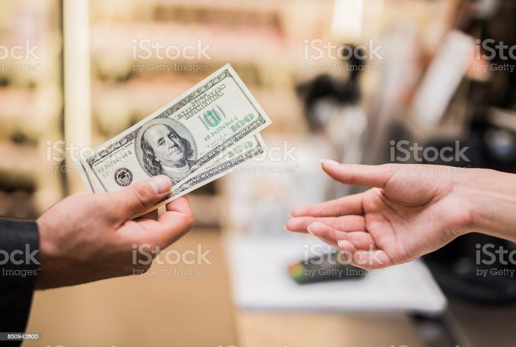 I'll pay cash stock photo