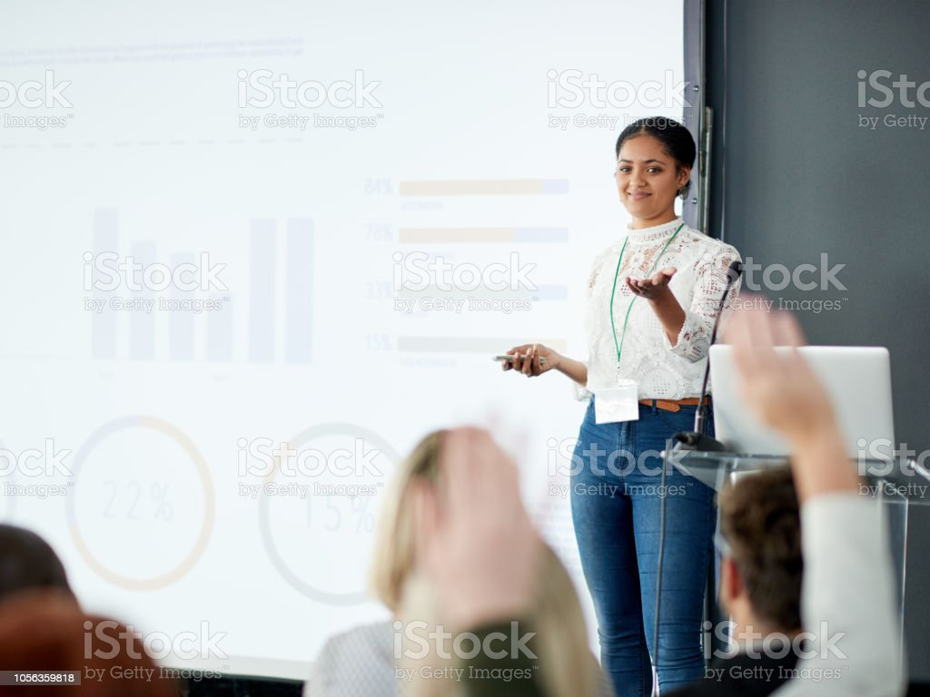 I'll take questions from the audience now stock photo