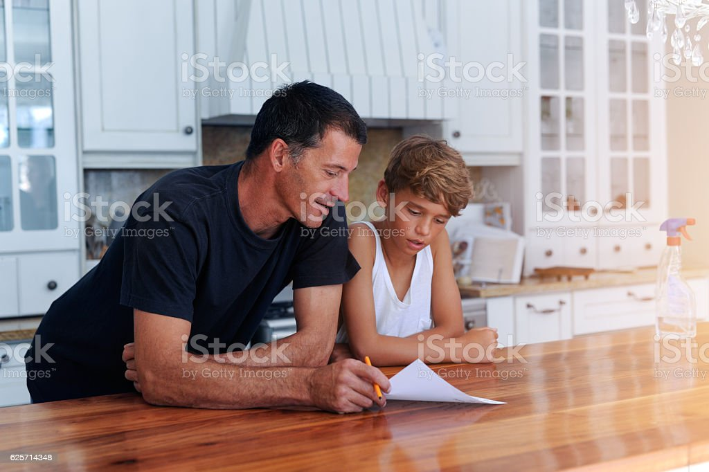 I'll tidy the kitchen while you tidy your room... stock photo
