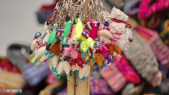 Llama key chains made from yarn at the Artisan's Market in Otavalo, Ecuador