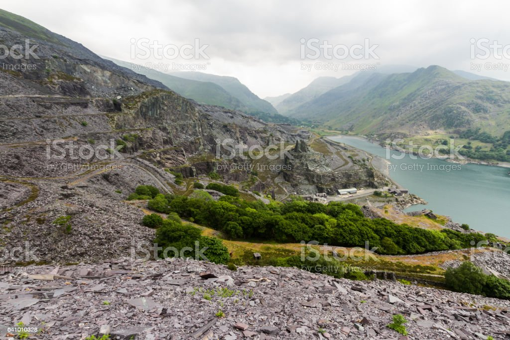 Llanberis, Nant Peris Pass and Dinorwig Slate Quarry stock photo