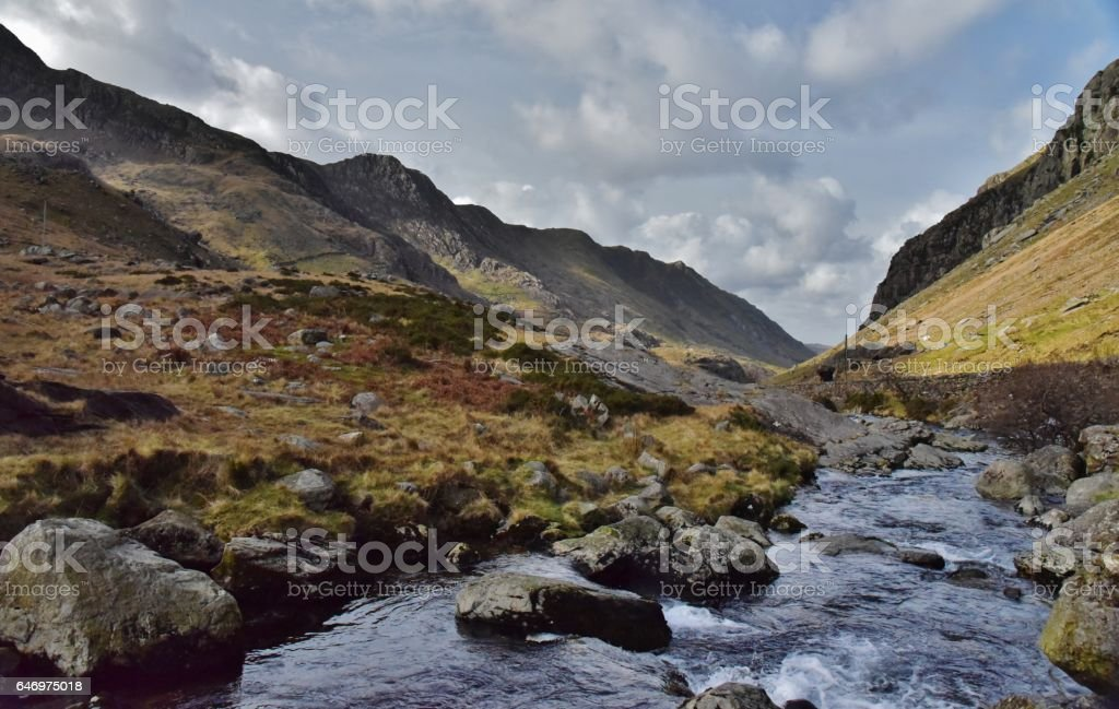 Llanberis Pass. stock photo