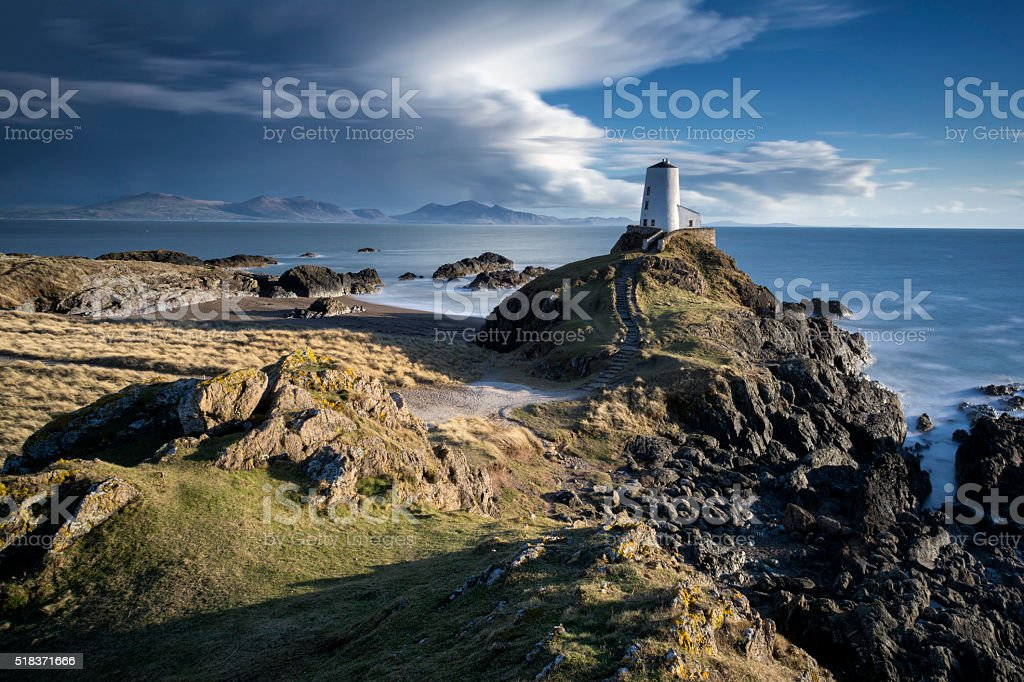 Llanddwyn Island Lighthouse stock photo