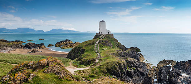 Llanddwyn Island A panorama of Llanddwyn Island, Anglesey wales stock pictures, royalty-free photos & images