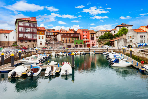 Llanes city marina in Spain stock photo