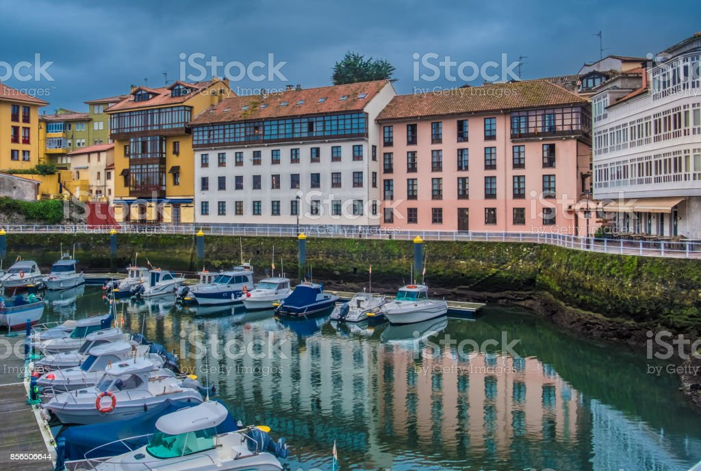 Llanes, on the Cantabrian Sea, Principality of Asturias, Northwest Spain. stock photo