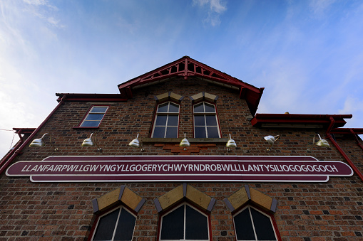 Llanfairpwllgwyngyll Railway Station Sign Stock Photo - Download Image Now