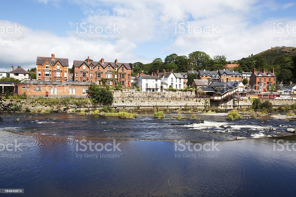 Llangollen from the River Dee in Wales royalty-free stock photo