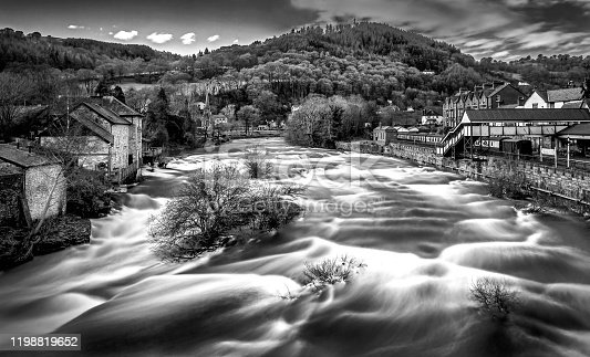 View of the river dee in the centre of Llangollen, North Wales,