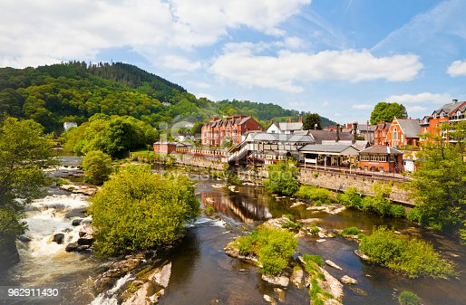 Llangollen railway station and the river Dee in Wales