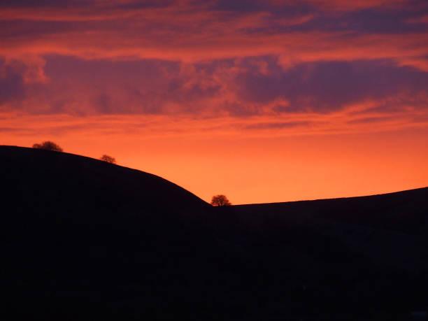 Llanhilleth Mountain sunset, Pontypool, Wales stock photo