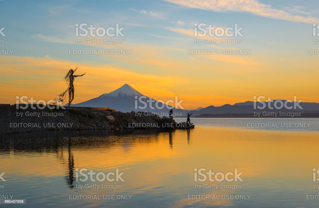 Llanquihue Lake at Sunrise stock photo