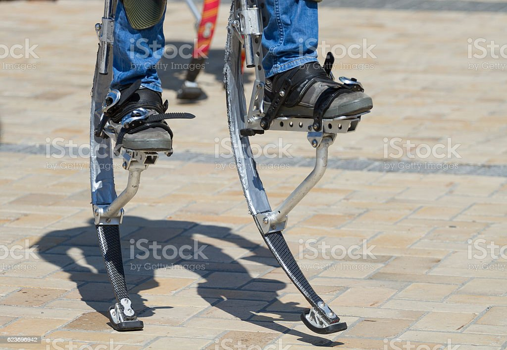 Llegs for jumping stilts stock photo