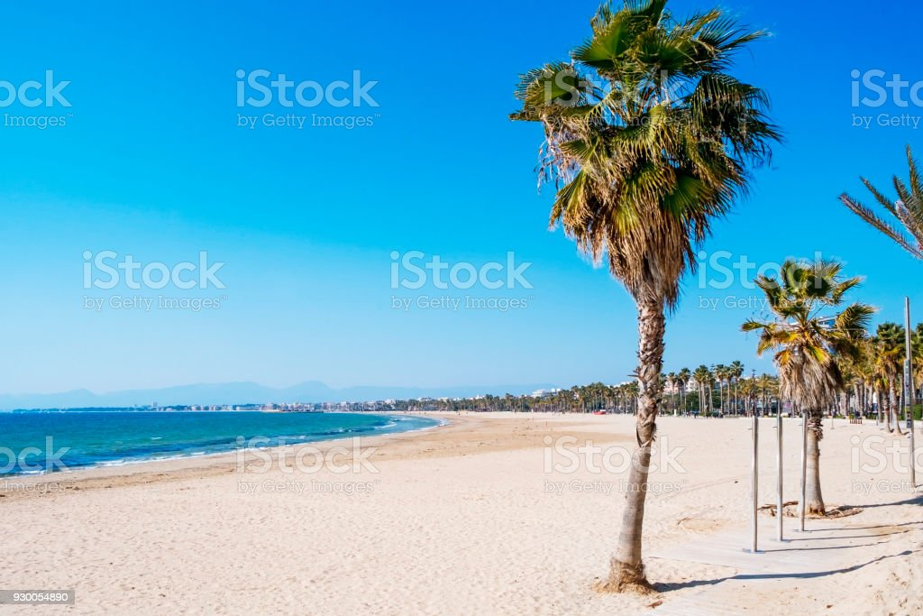 Llevant Beach in Salou, Spain, on a winter day stock photo