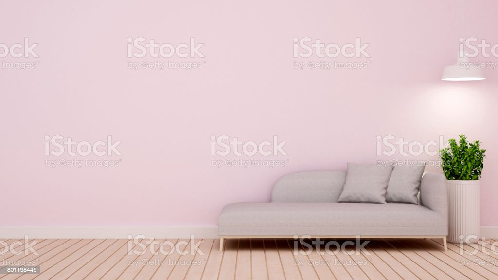lliving room in home or apartment - 3D Rendering stock photo