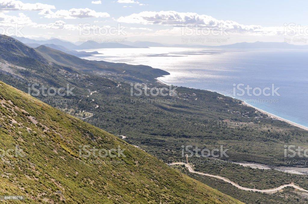 Llogara Pass at Albanian Riviera stock photo