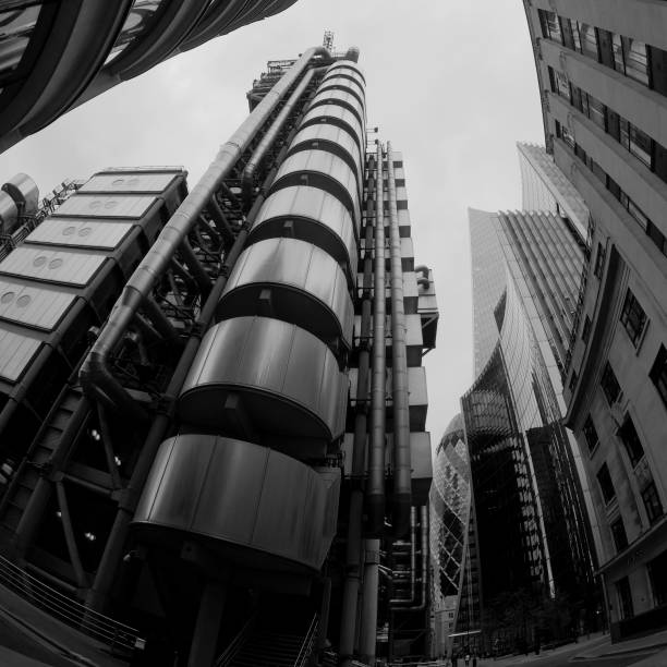 Lloyd's Build, City of London Fish Eye view upwards from the corner of the famous Lloyds Building. skeable stock pictures, royalty-free photos & images