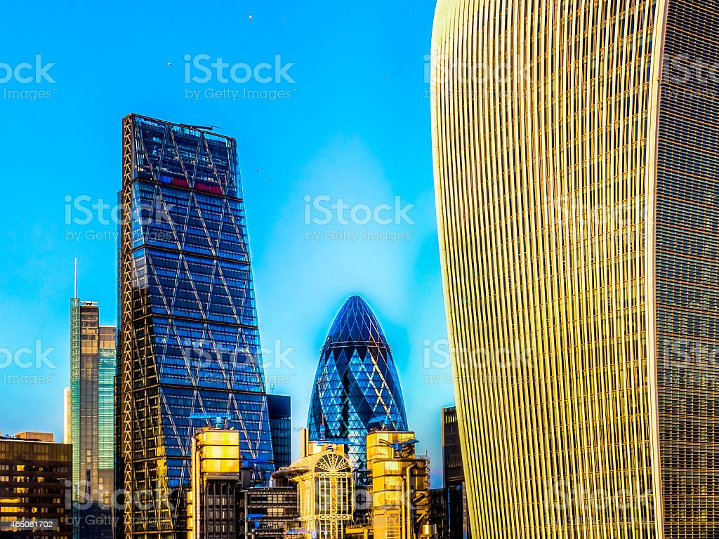 Lloyds Building, Cheesegrater, Gherkin and Walkie Talkie London, February 2015 stock photo