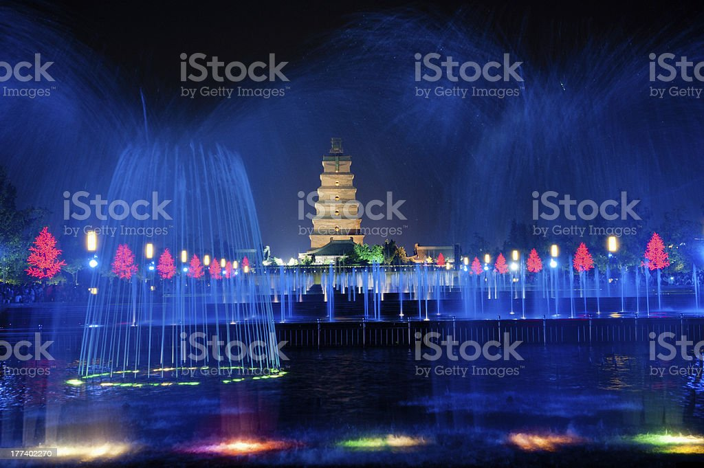 lluminated water show at Big Wild Goose Pagoda in Xian stock photo