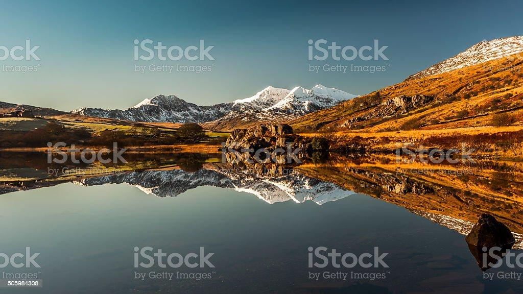 Llyn Mymbyr reflections stock photo