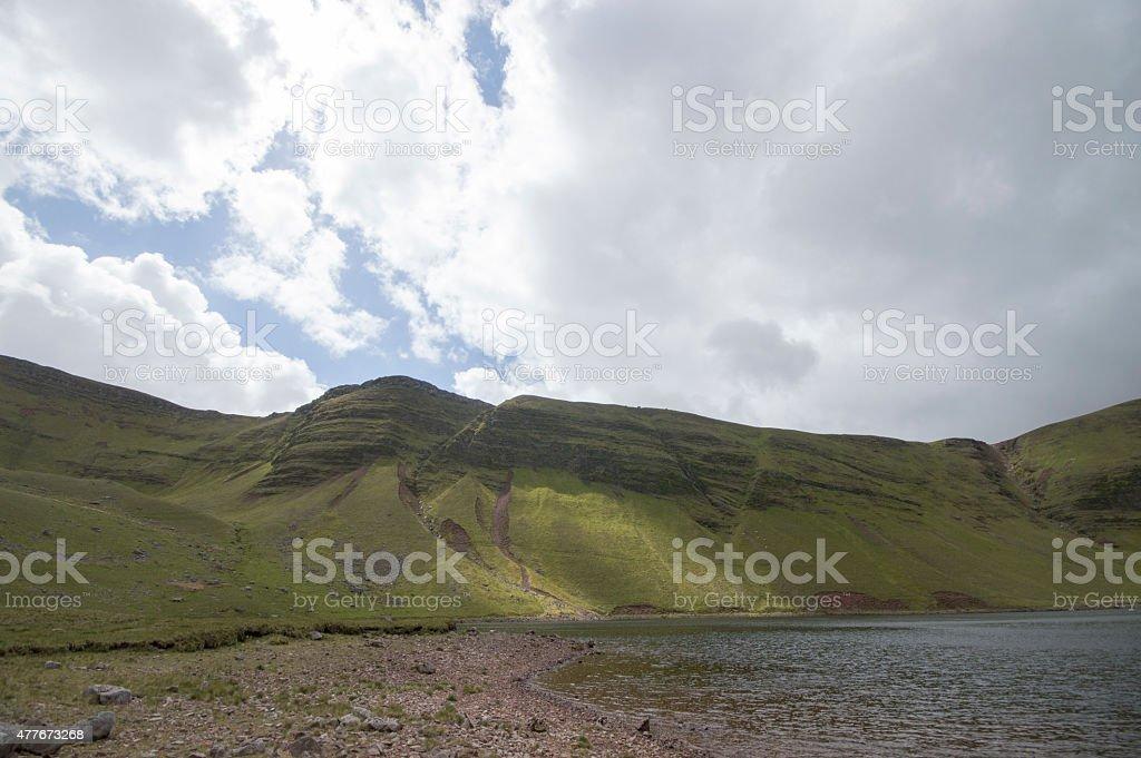 Llyn Y Fan Fach lake on a sunny cloudy day stock photo