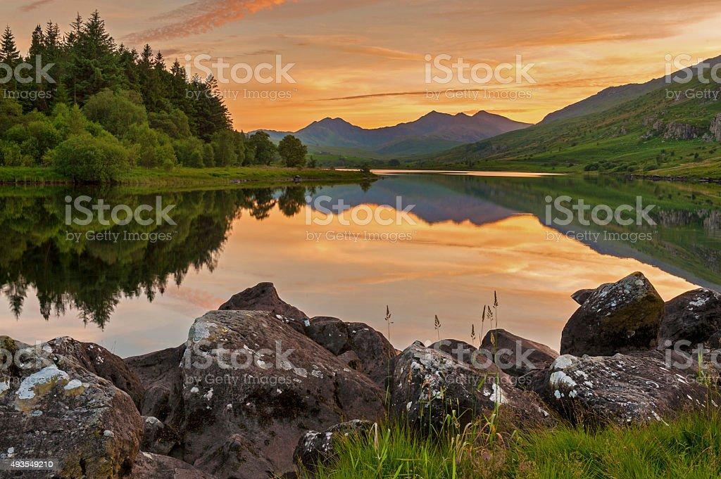 Llynnau Mymbyr Sunset, Snowdonia National Park, Wales, UK stock photo