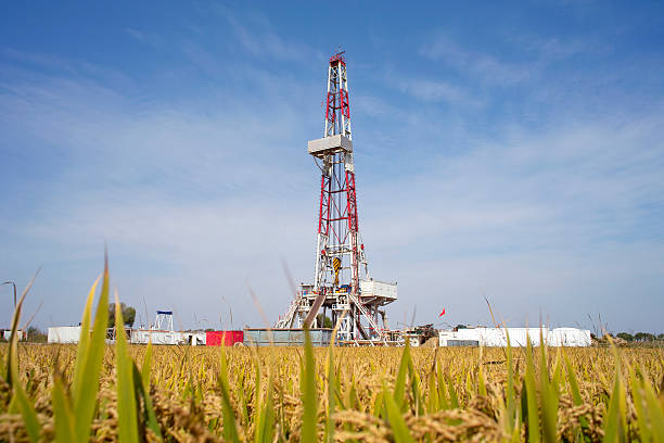 Lnad drilling rid stock photo
