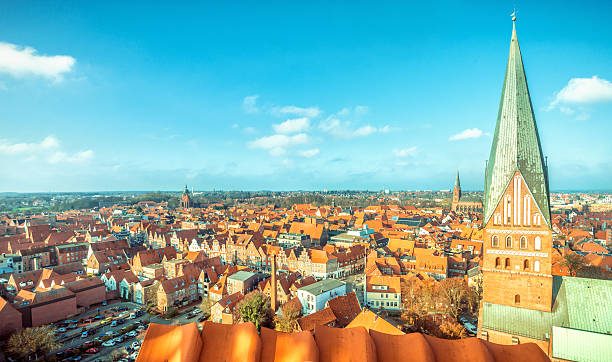 Lüneburg (Luneberg) cityscape Aerial view over the Lüneburg. lüneburg stock pictures, royalty-free photos & images