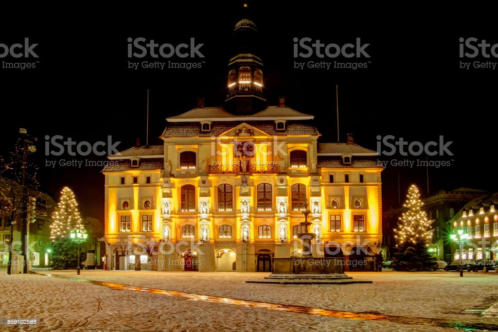Lüneburg (near Hamburg) Germany: Old famous town hall. Lüneburg (near Hamburg) Germany: Old famous town hall with christmas trees and snow. Christmas Stock Photo