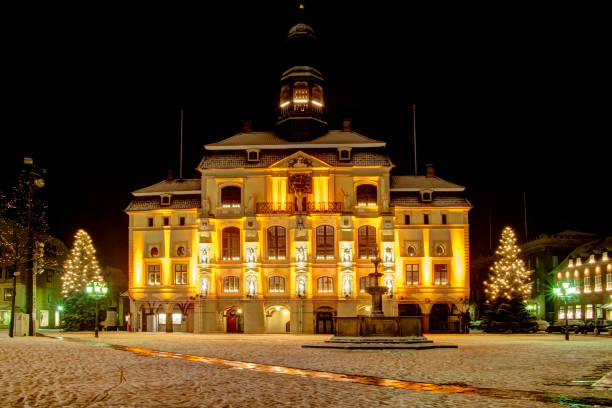 Lüneburg (near Hamburg) Germany: Old famous town hall. Lüneburg (near Hamburg) Germany: Old famous town hall with christmas trees and snow. lüneburg stock pictures, royalty-free photos & images