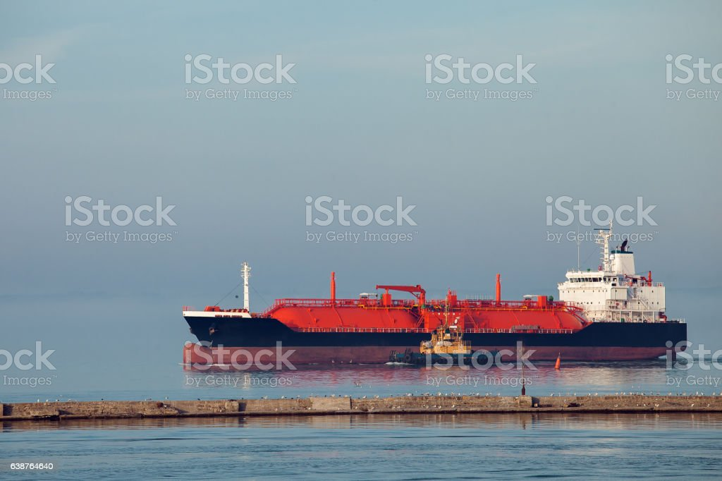 lng ship a gas carrier vessel. stock photo