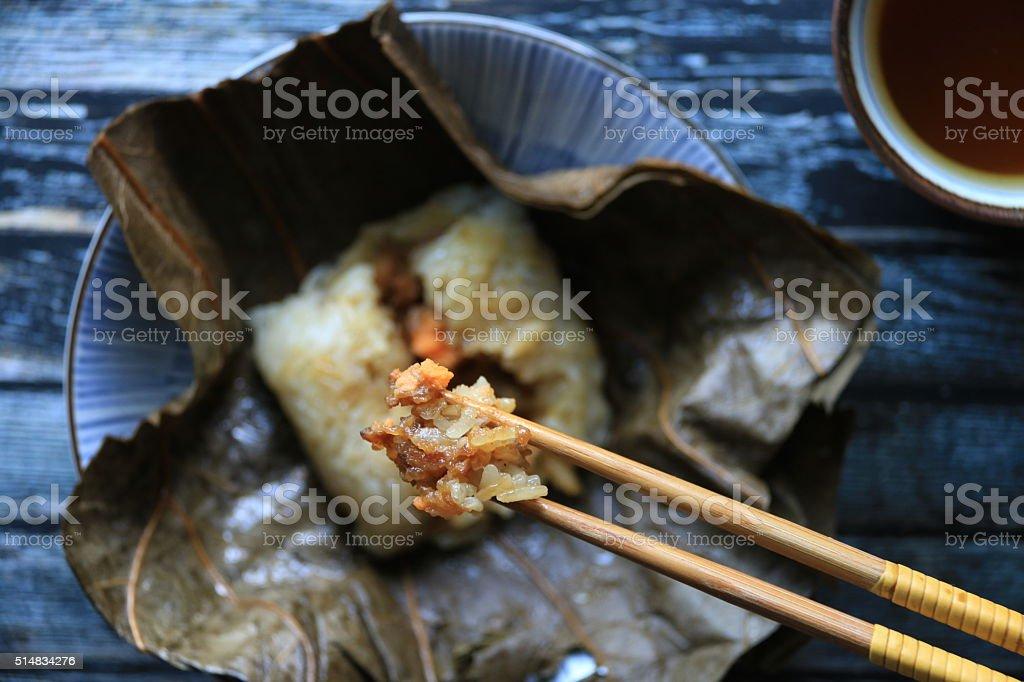 Lo Mai Gai on Chopsticks stock photo