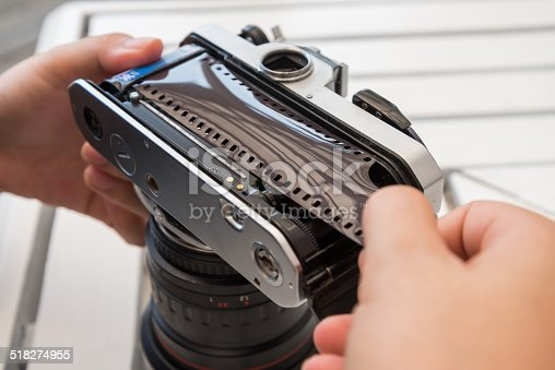 demonstrate how to load film to camera