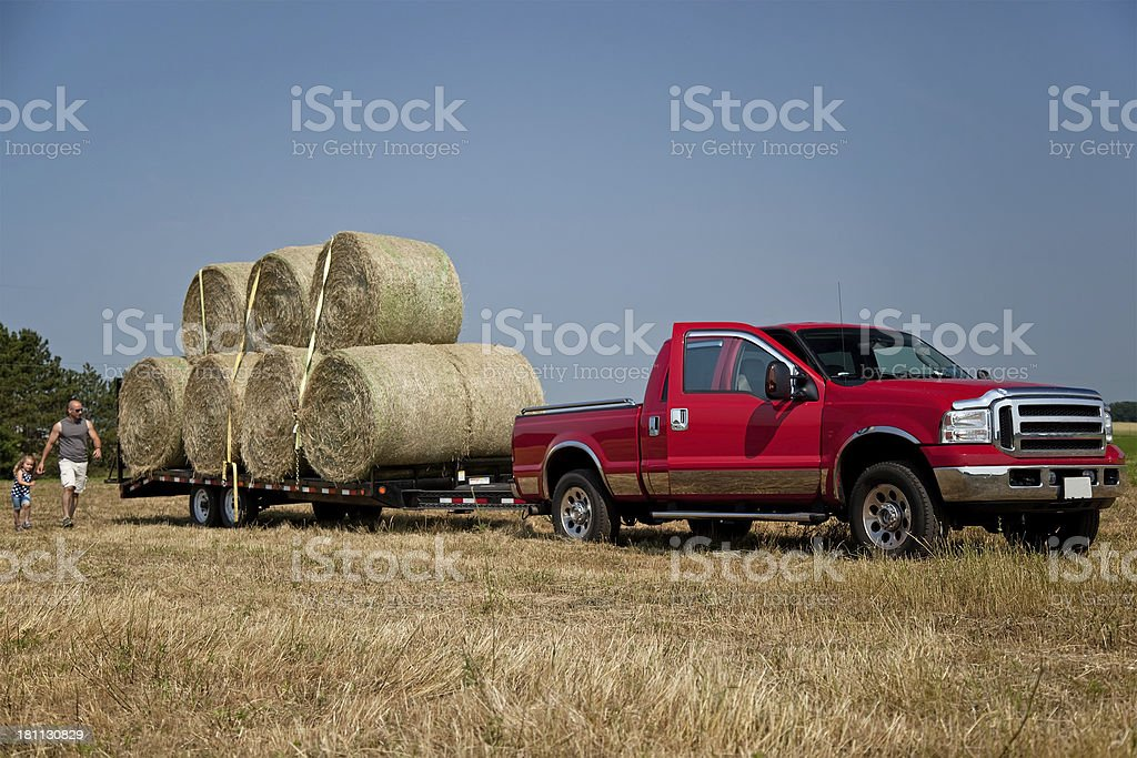 Load of Hay Bales Ready to Be Hauled Away stock photo