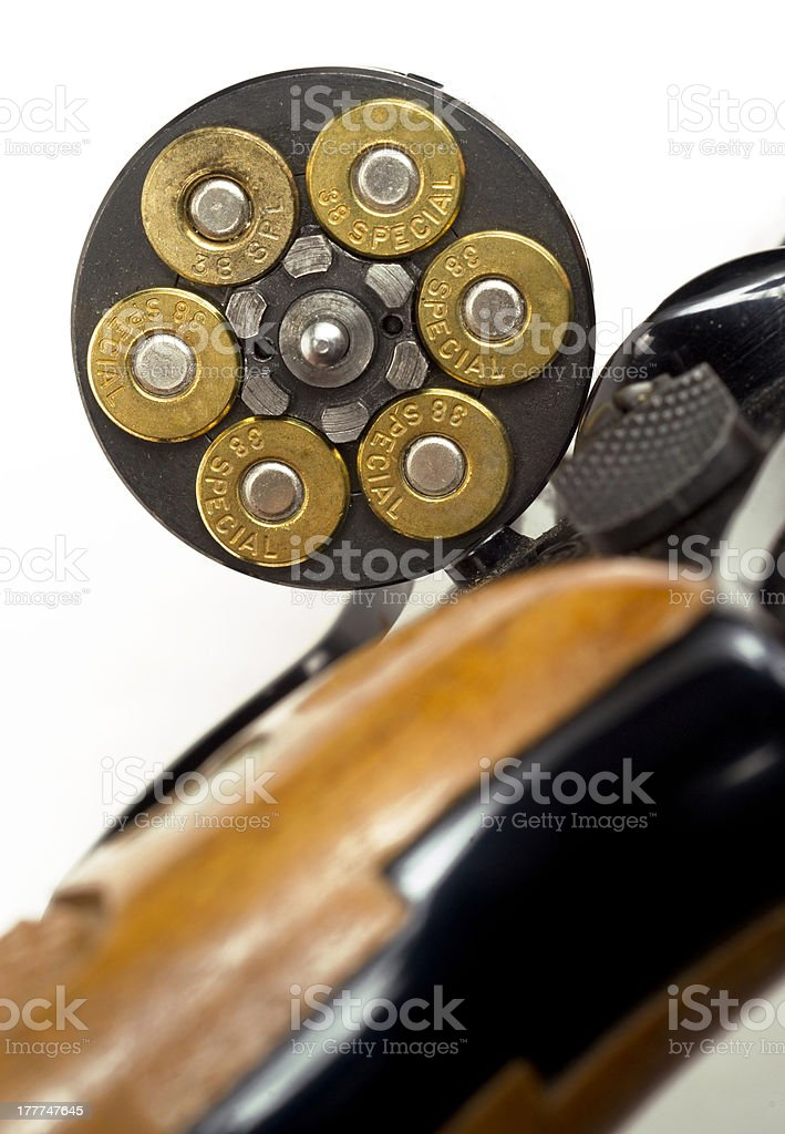 Loaded Bullets in Gun Chamber 38 Special Ready Aim Fire stock photo