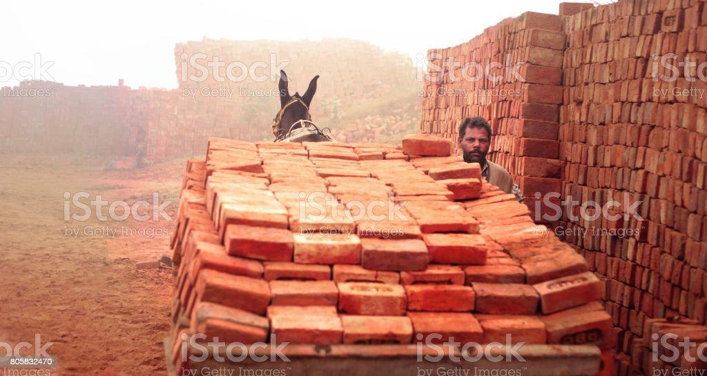 Loaded cart of bricks stock photo